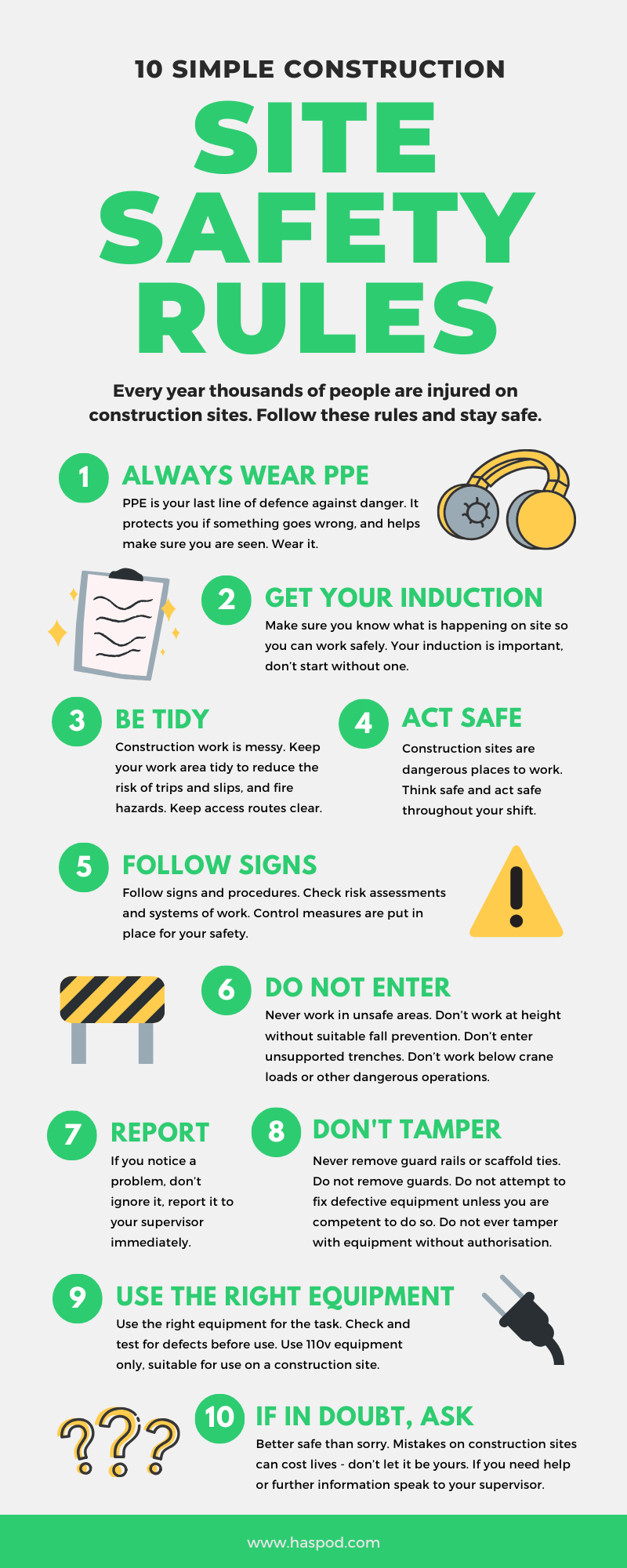 construction site rules infographic